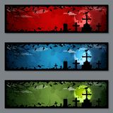 Halloween banners vector templates collection. Halloween colorful horizontal banners design vector templates collection Vector Illustration