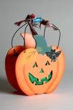 Halloween basket. A wooden halloween basket decoration Stock Photo