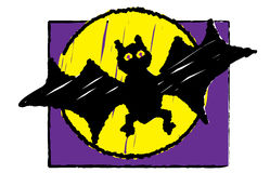 Halloween -  Bat. Illustration of a halloween bat as if drawn by a child Royalty Free Stock Photos