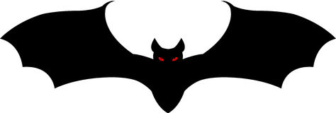 Halloween bat. A black vampire bat flying, isolated. Vector illustration Royalty Free Stock Photography