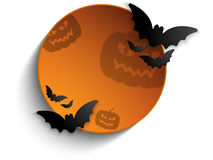 Halloween Bat Circle Frame Pumpkin Background Vect Stock Images