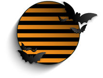 Halloween Bat Circle Frame Striped Background Vect Stock Image