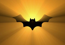 Halloween flying bat silhouette light flare Royalty Free Stock Image