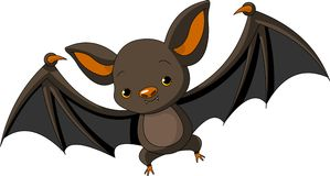 Halloween  bat  flying. Illustration of Cute Cartoon Halloween bat  flying Royalty Free Stock Image