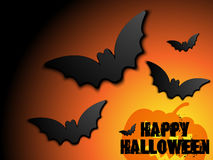 Halloween Bat Frame Pumpkin Background Royalty Free Stock Photo