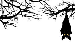 Halloween  bat hanging among tree branches vector. Halloween theme evil bat hanging among tree branches - monster vector design Stock Image