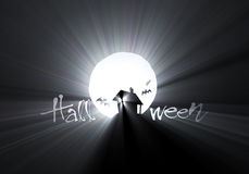 Halloween Bat hut moon light flare Stock Images