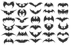 Halloween bat icons. Vector vampire bats silhouettes for halloween vector illustration royalty free illustration