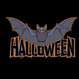 Halloween bat inscription black background vector illustration Royalty Free Stock Photo