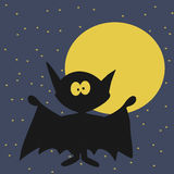 Halloween Bat With Moon on Night Sky Background. Stock Photos