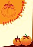 Halloween Bat Ribbon On Pumpkin_eps. Illustration of Halloween card with pumpkin and bat ribbon. Happy Halloween Stock Image