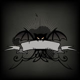 Halloween bat scroll. Halloween vector illustration, scary bat scroll, frame Stock Photography