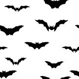 Halloween bat silhouette seamless pattern. Holiday Halloween bac Stock Photos