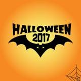 Halloween bat 2017 text illustration black on orange. Background Royalty Free Illustration