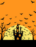 Halloween bats and castle poster Stock Images