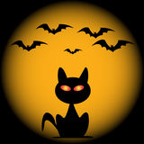 Halloween bats and cat vector. Icon Royalty Free Stock Photos