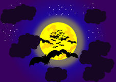 Halloween Bats. Coming out of the moon background illustration Royalty Free Stock Photos