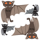 Halloween bats. Flat icon set bats. Royalty Free Stock Images