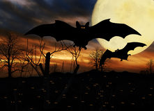 Halloween Bats Full Moon Stock Image
