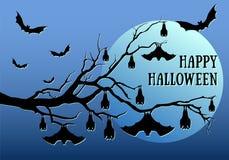 Halloween bats hanging, vector Stock Image