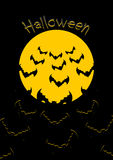 Halloween. Bats and moon. Bunch of scary animals flies from yell Stock Image