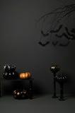 Halloween with bats and pumpkin stock illustration