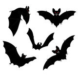 Halloween Bats. Set of black halloween bats silhouettes with red eyes Royalty Free Stock Photo