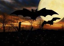 Halloween batte la luna piena immagine stock