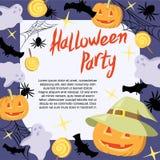 Halloween Bawi się sztandar, plakat, szablon z baniami, nietoperz, ducha, pająka i cukierku, Obrazy Royalty Free