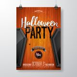 Halloween Bawi się ulotki wektorową ilustrację z czarną trumną na pomarańczowym rocznika drewna tle Wakacyjny projekt z ilustracji