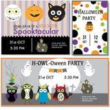 Halloween bawi się zaproszenie karty czarownicy, żywy trup, czarny kot, sowy cha Zdjęcia Stock