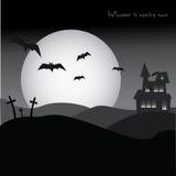 Halloween bawi się plakat, horror, noc, nietoperze i cmentarz, Obrazy Stock