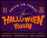 Halloween bawi się plakat z dyniowym literowaniem i kapelusz czarownica Obrazy Royalty Free