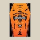 Halloween BBQ-Parteieinladungskarte Stockbilder