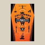 Halloween BBQ party invitation card Stock Images