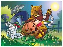 Halloween. Beast hare bat bear celebrate Halloween vegetable garden beside railings at moon royalty free illustration