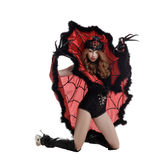 Halloween. Beautiful girl posing as Spider Queen Stock Photo
