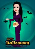 Halloween. Beautiful lady witch in gothic style wearing black lo Royalty Free Stock Photography