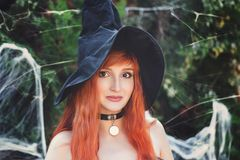 Free Halloween Beautiful Young Witch Girl In Witches Hat Royalty Free Stock Photography - 161175057