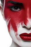 Halloween beauty model with red lips and blood on face Stock Photography