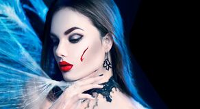 Halloween. Beauty vampire woman Stock Image