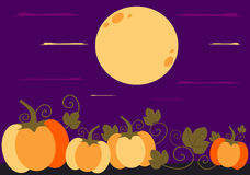 Halloween-beeldverhaalachtergrond met kleurrijke pompoenillustratie Stock Foto's
