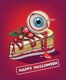 Halloween-beeldverhaalkaart Eng karakter Griezelig Oog stock illustratie