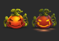 Halloween-beeldverhaalpompoen en pompoenlichten op donkere achtergrond Stock Foto's
