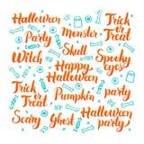 Halloween-Beschriftungs-Satz Stockfotos