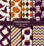 Halloween bezszwowy tło kreskówki serc biegunowy setu wektor Fotografia Royalty Free