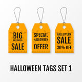 Halloween big sale tags set vector  templates. Stock Photo