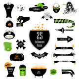 Halloween big set of badges. Vector backgrounds, infographic rib Royalty Free Stock Photos