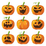 Halloween big set with pumpkins. 3d pumpkin face. Vector. stock illustration
