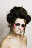 Halloween bilden schönes Modell mit perfekter Frisur Lizenzfreie Stockfotografie